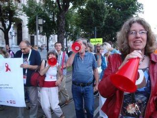 Demo bei der WeltAIDSkonferenz 2010 Wien; Foto: ©Renate Fleisch